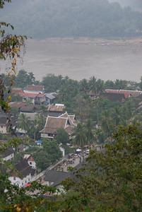 Overhead shot of the Mekong River and its nearby town in Luang Prang, Laos