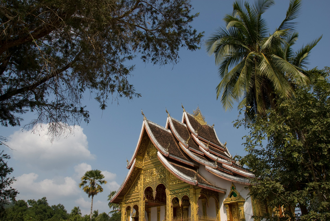 Shot of the National Museum rooftop from the side - Luang Prang, Laos