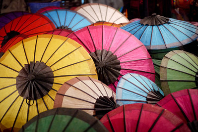 Colorful umbrellas at the night market in Luang Prabang, Laos