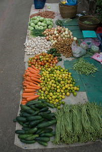 Vegtables for sale at a day market in Luang Prang, Laos