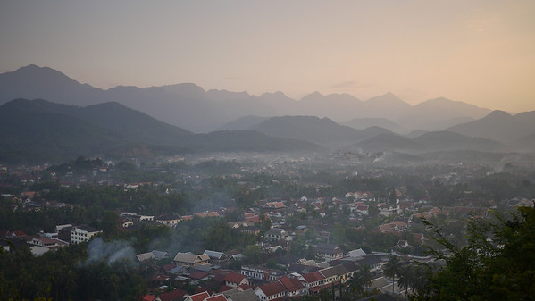 The setting sun in Luang Prabang, Laos