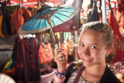 iAna loves the bright colors of umbrellas in Luang Prabang, Laos
