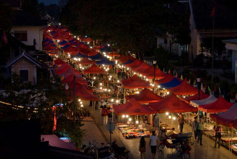 Busy nigh t market in Luang Prang, Laos