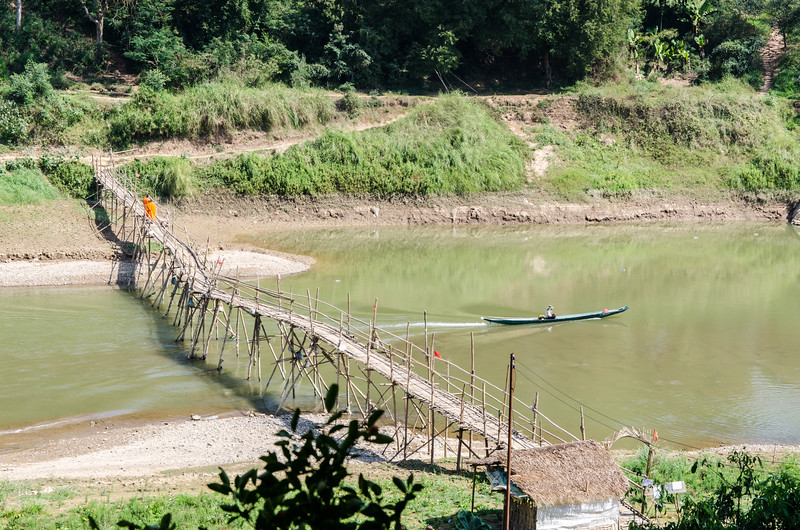 A bamboo bridge across the Nam Khan River. This bridge is rebuilt every year.