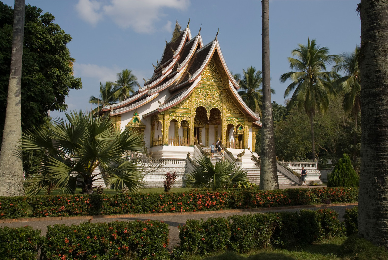 Beautiful landscape outside the National Museum in Luang Prang, Laos