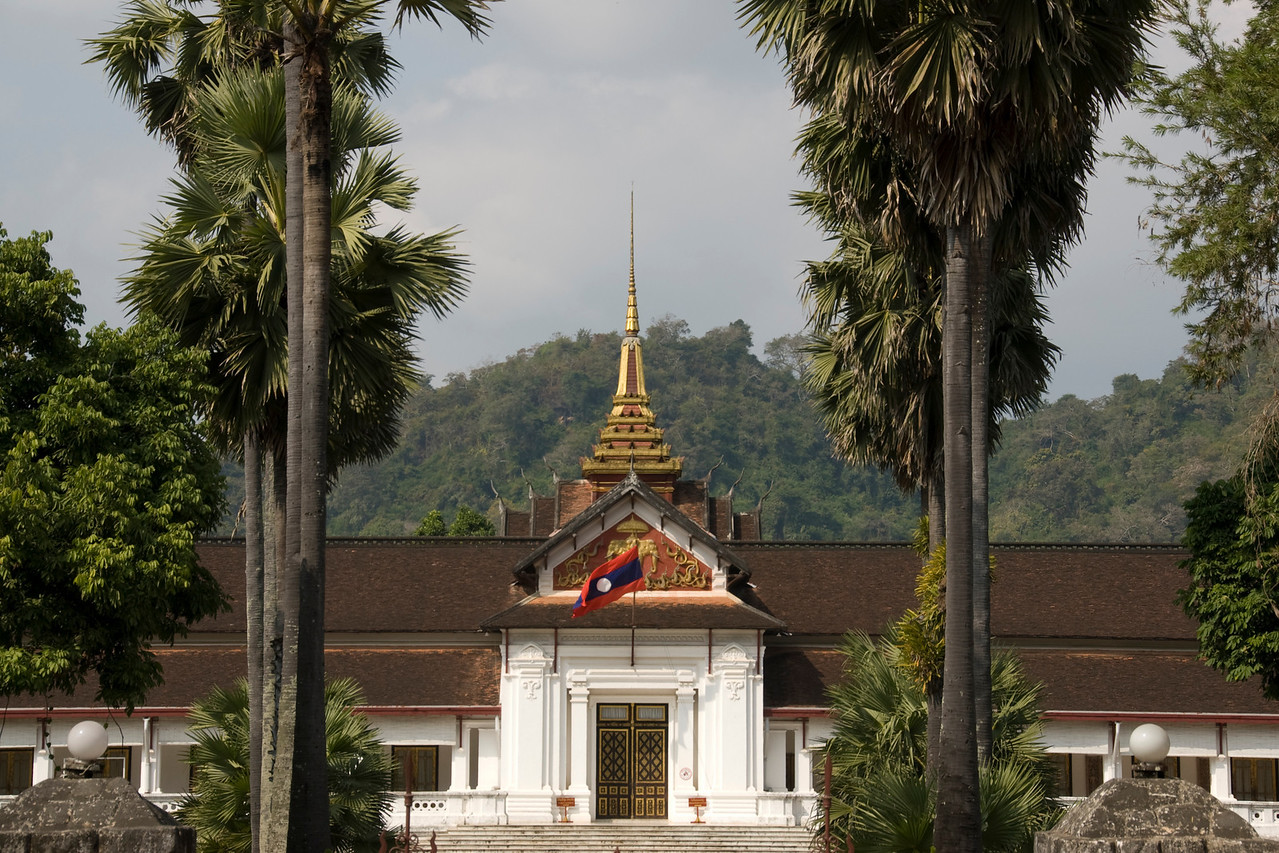 Stupa sticking out from the National Museum building in Luang Prang, Laos
