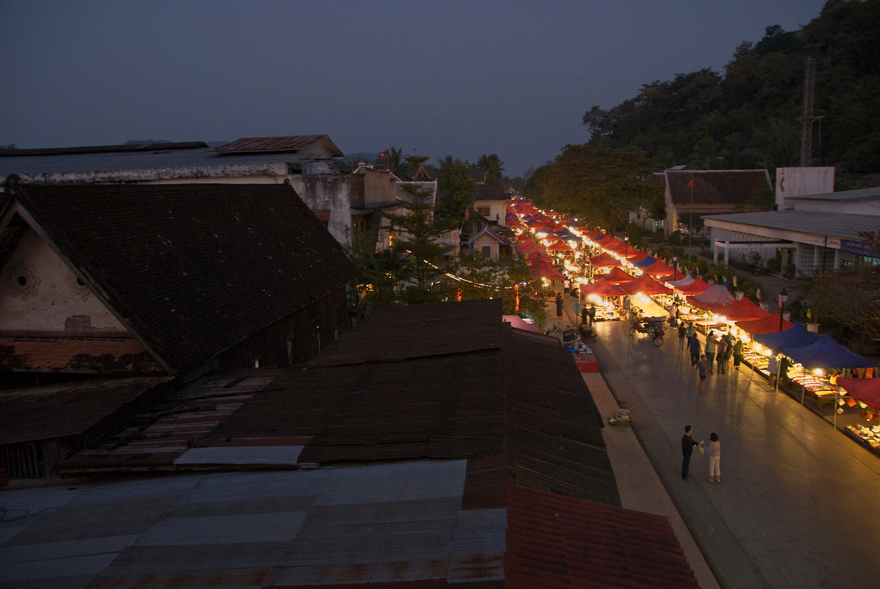 Colorful lights of night market in Luang Prabang, Laos