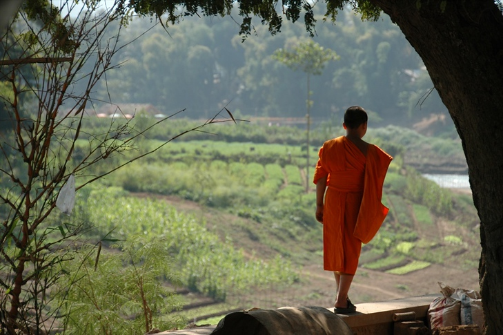 Monk at the Nam Khan River - Luang Prabang, Laos