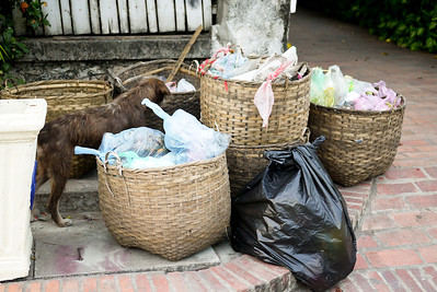 Trash collected in baskets on the streets in Luang Prabang, Laos
