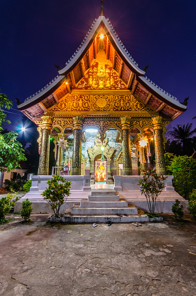 A small but beautiful temple at night