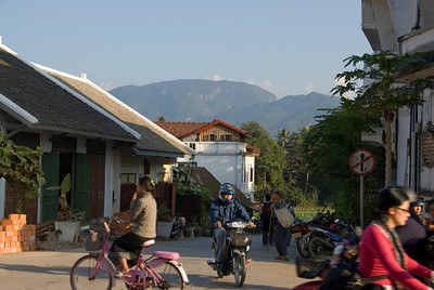 Locals going about on their daily life in Luang Prang, Laos
