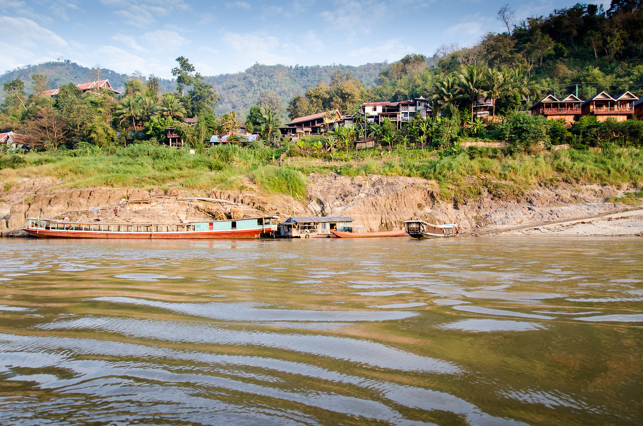 Pakbeng from our boat as we start down the river for Luang Prabang.
