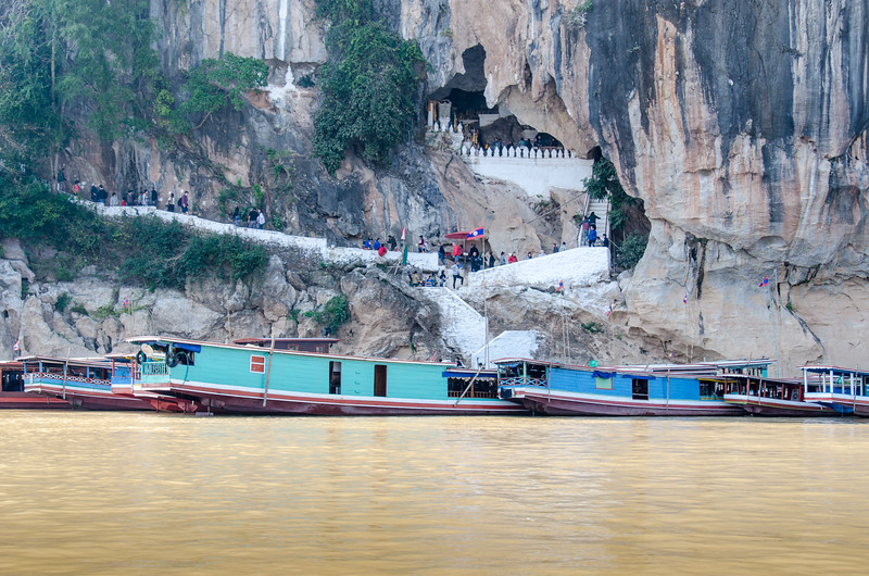 Boats docked at the Pak Ou Caves.