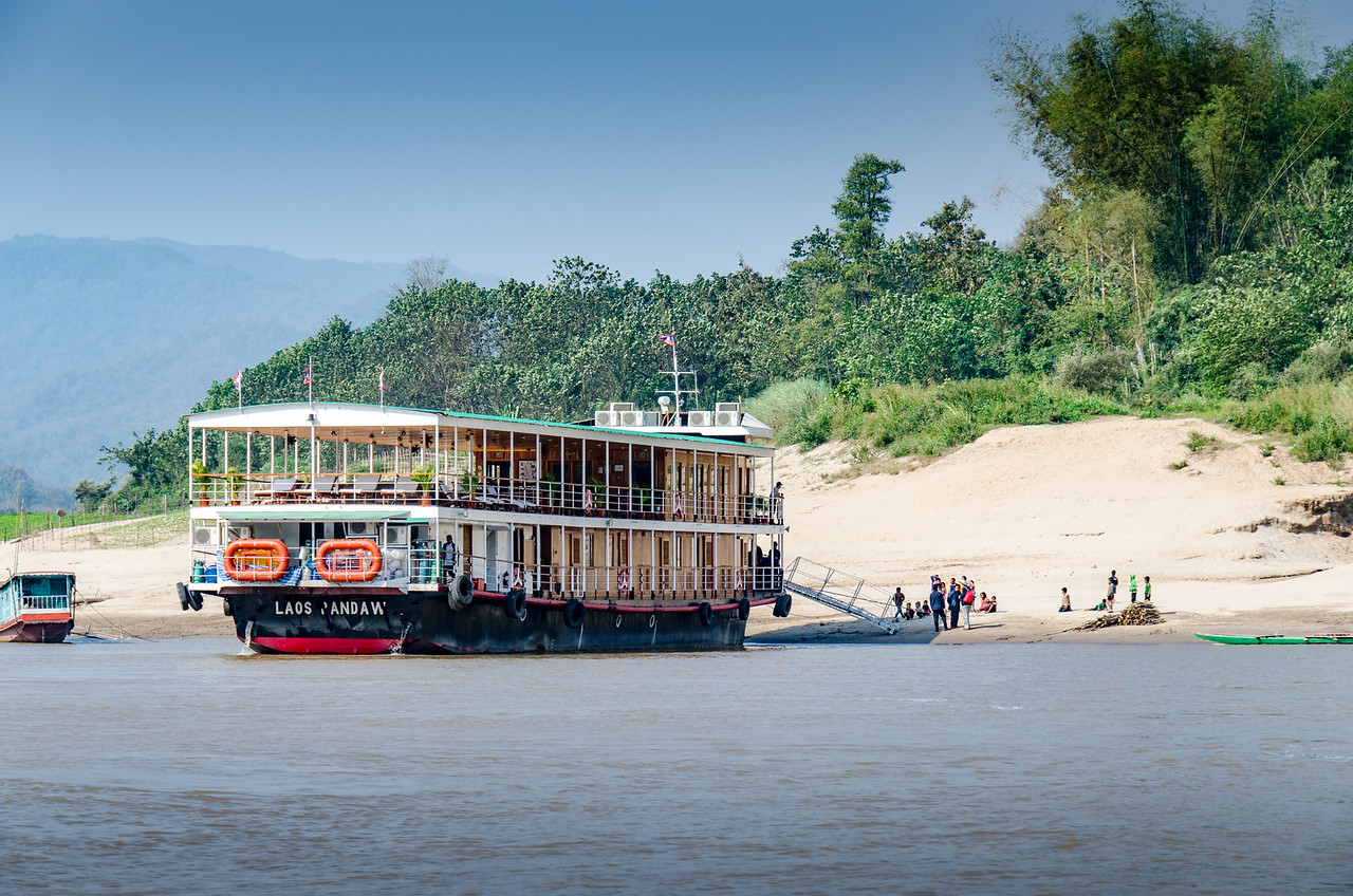 The Laos Pandow nosed into the bank of the Mekong.