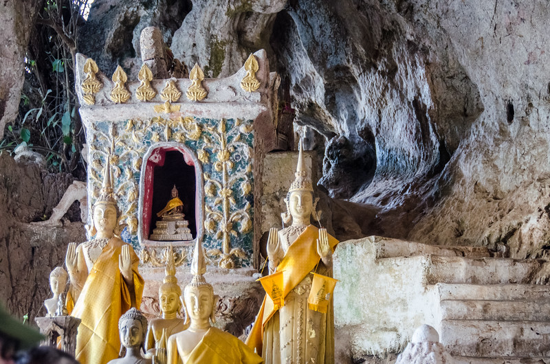 A small shrine in the Pak Ou Caves.