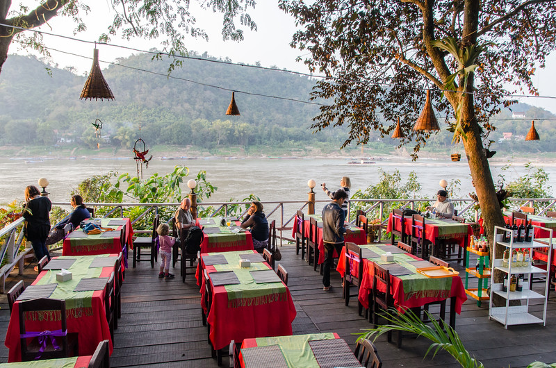 One of the many restaurants on Khem Khong Road, sitting high above the Mekong.