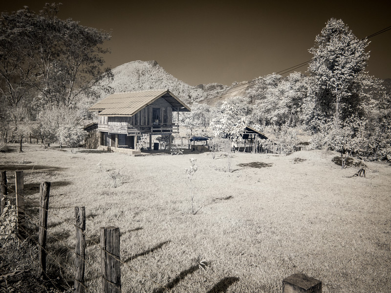 An infrared shot of a tradtional Lao house.