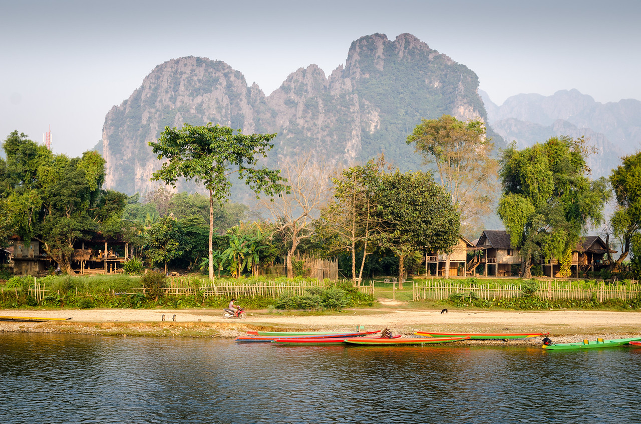 The morning sun illuminates the karst formations across the Nam Song River from our hotel in Vang Vieng.