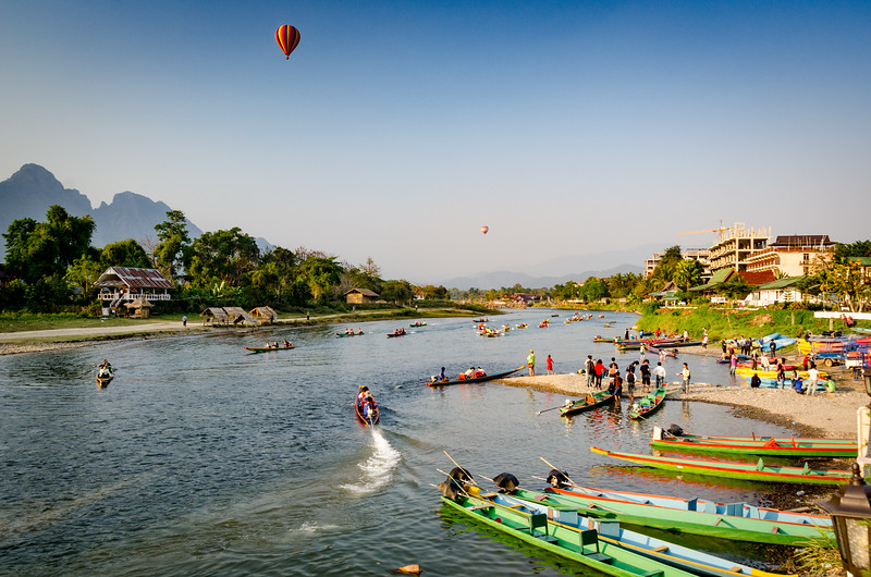 The Nam Song River is the center of activity in Vang Vieng.