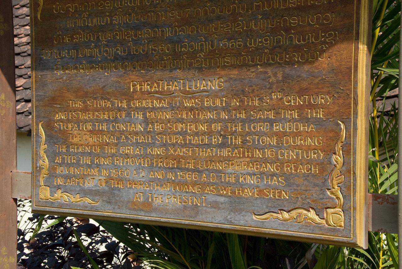 Prathat Luang Temple Sign in Vientiane, Laos