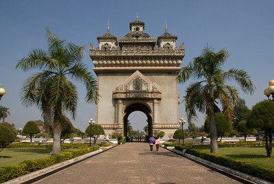 Front view of the Patousai Arch in Vientiane, Laos