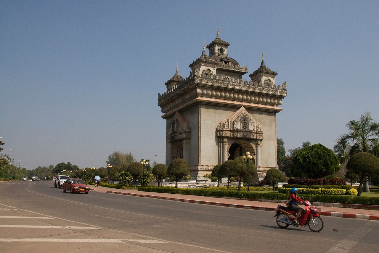 Shot of the Patousai Arch from the side - Vientiane. Laos