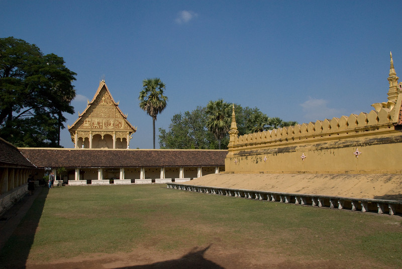 The grounds outside the temple in Vientiane, Laos