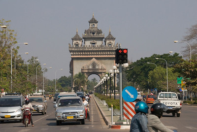 Patousai Arch from afar in Vientiane, Laos