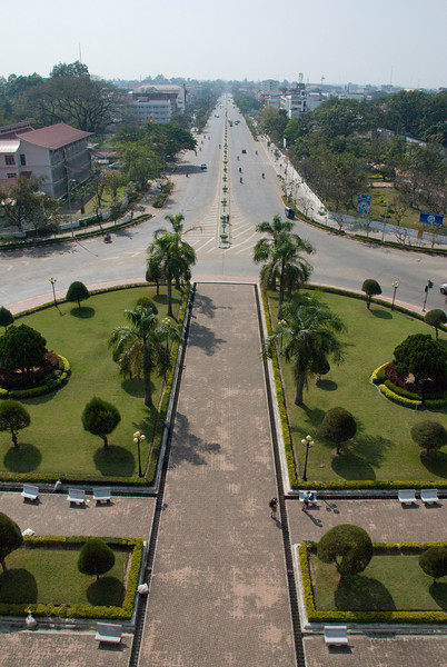 Overlooking the rotonda near Patousai Arch in Vientiane, Laos