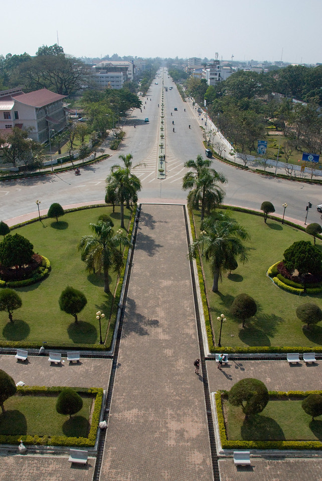 Overlooking the rotonda near Patousai Arch in Vientiane, Laos