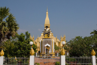 Panoramic shot of the temple shrine in Vientiane, Laos