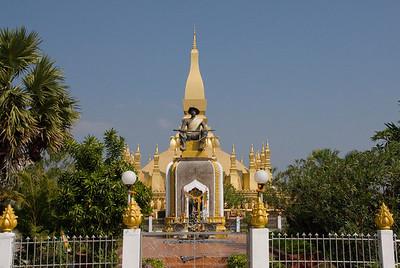Panoramic shot of the temple shrine in Vientiane, Laos