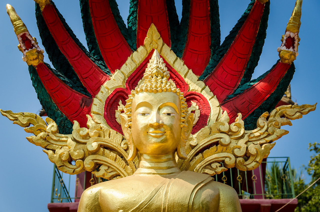 The Buddhist naga has the form of a great cobra, usually depicted with a single head but sometimes with many heads. The naga which is seen sheltering the Buddha while meditating is known as Mucilanda. Mucilanda is believed to have protected the Buddha from the elements like rain and storm after he attained enlightenment.