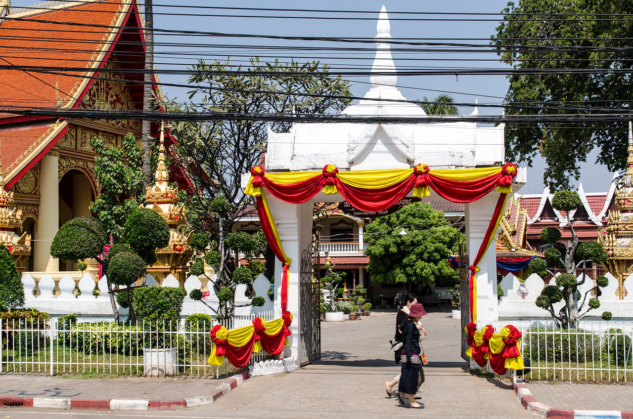 The Wat Chan Temple near the banks of the Mekong.