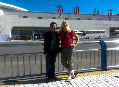 Saying goodbye to my terrific guide, Tenzin, at the airport