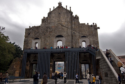 Tourists checking out behind St. Paul's Facade in Macau
