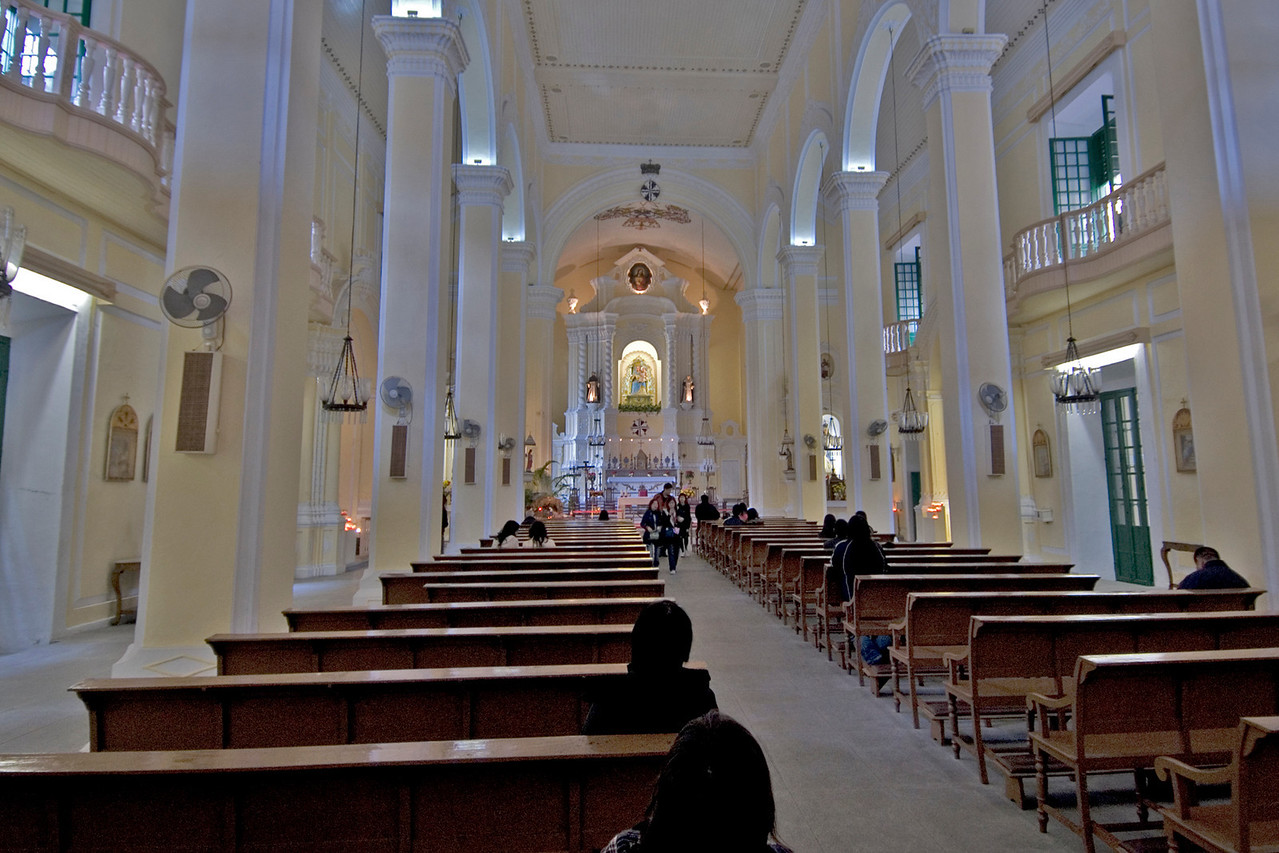 Narrow corridor inside St. Dominic's in Macau