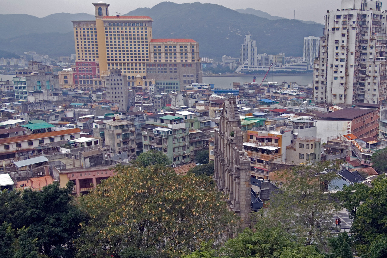 Overlooking view of St. Paul's and Mainland China in Macau