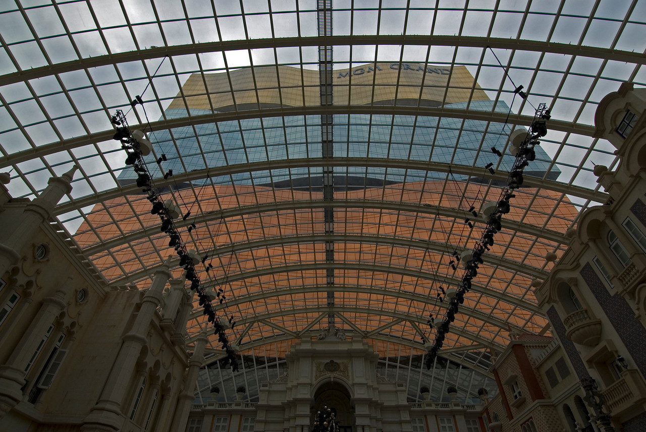 Glass roof onside MGM Grand in Macau