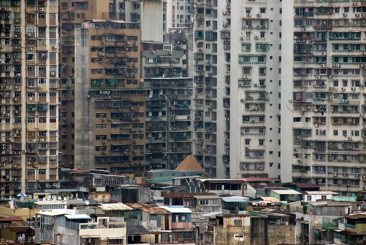 Apartment buildings at the city skyline in Macau