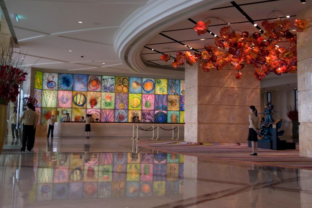Modern design at MGM Grand lobby in Macau