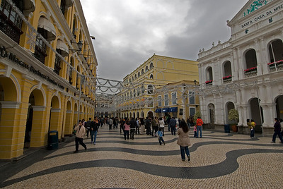Tourists exploring the Senado Square in Macau