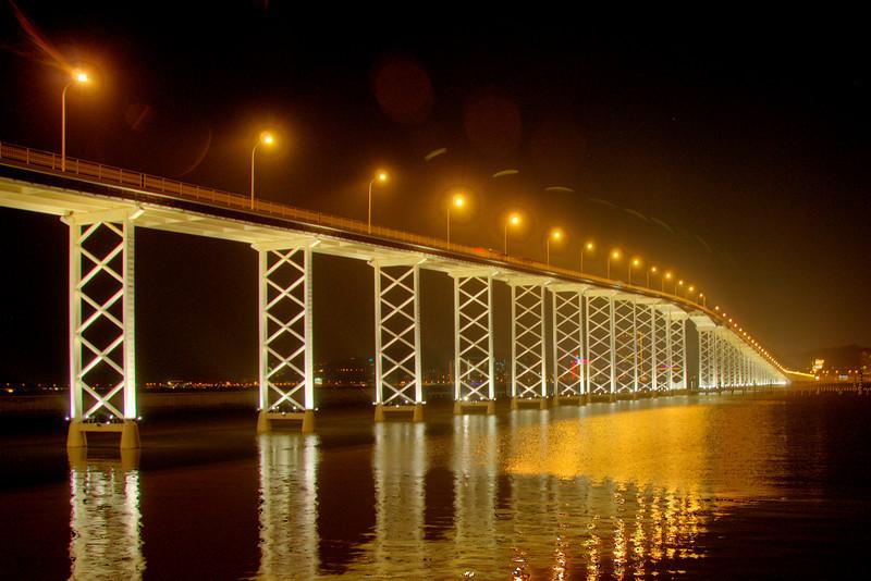 Enhanced shot of the Friendship Bridge  at night in Macau
