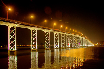 Enhanced shot of the Friendship Bridge  at night in Macau