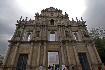 Looking up the St. Paul's Facade in Macau