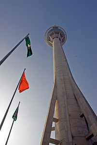 Looking up the Macau Tower in Macau
