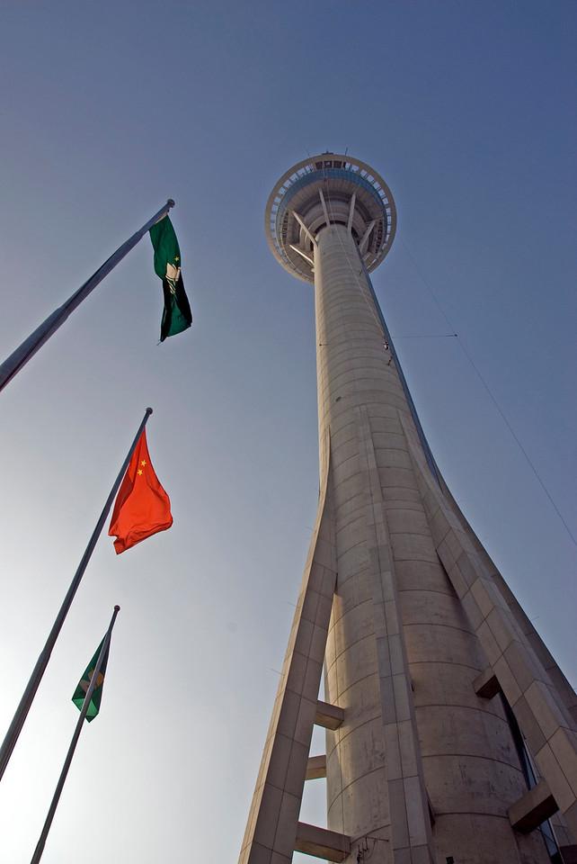Looking up the Macau Tower in Macau
