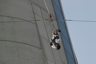 Bungee Jumper Hanging from Tower in Macau