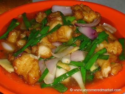 Malaysian Food, Fish and Green Onions - Melaka, Malaysia