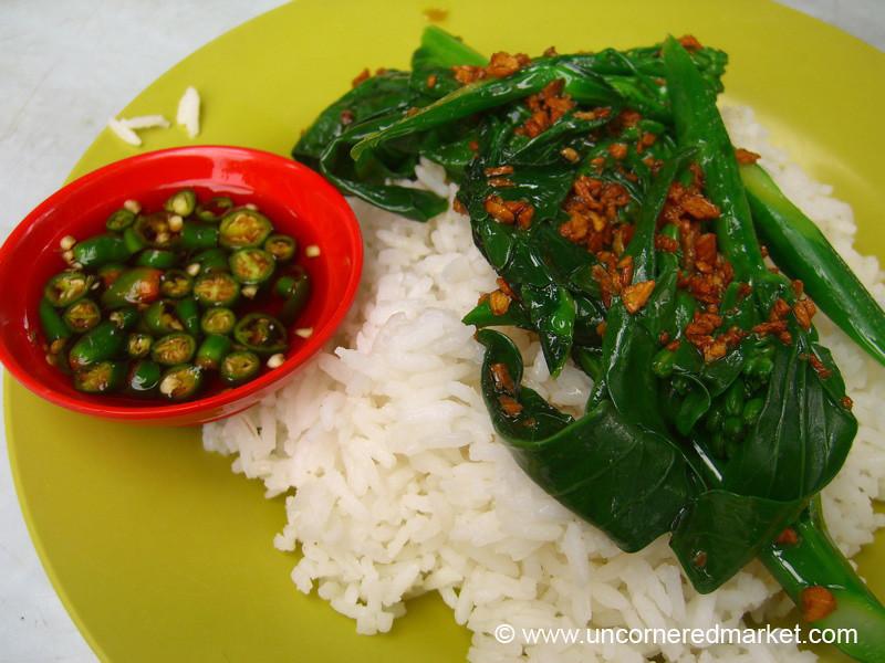 Fried Greens with Garlic and Rice - Kuala Lumpur, Malaysia
